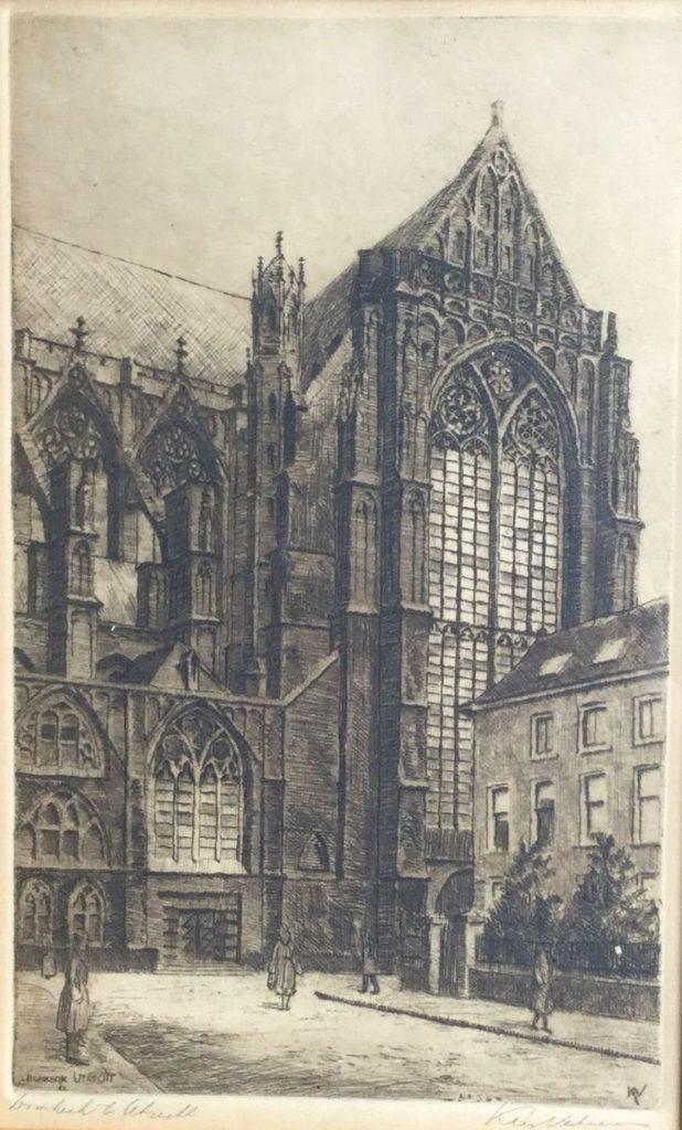 Schilderijen te koop van kunstschilder Kees Verhoeven Domkerk te Utrecht ets op papier, beeldmaat 24 x 14.5 cm rechtsonder gesigneerd, Expositie Galerie Wijdemeren Breukeleveen