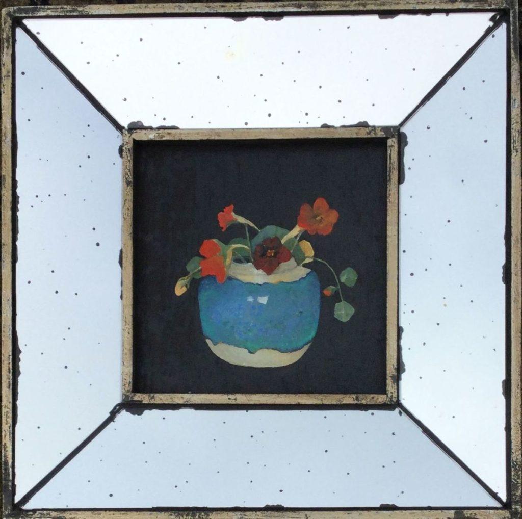 C4053 Ruud van der Neut Oost Indische kers in Chinese pot, 18e eeuw olie op paneel, 17 x 17 cm verso gesigneerd, schilderijen te koop, kunst te koop, exposities, galerie wijdemeren breukeleveen