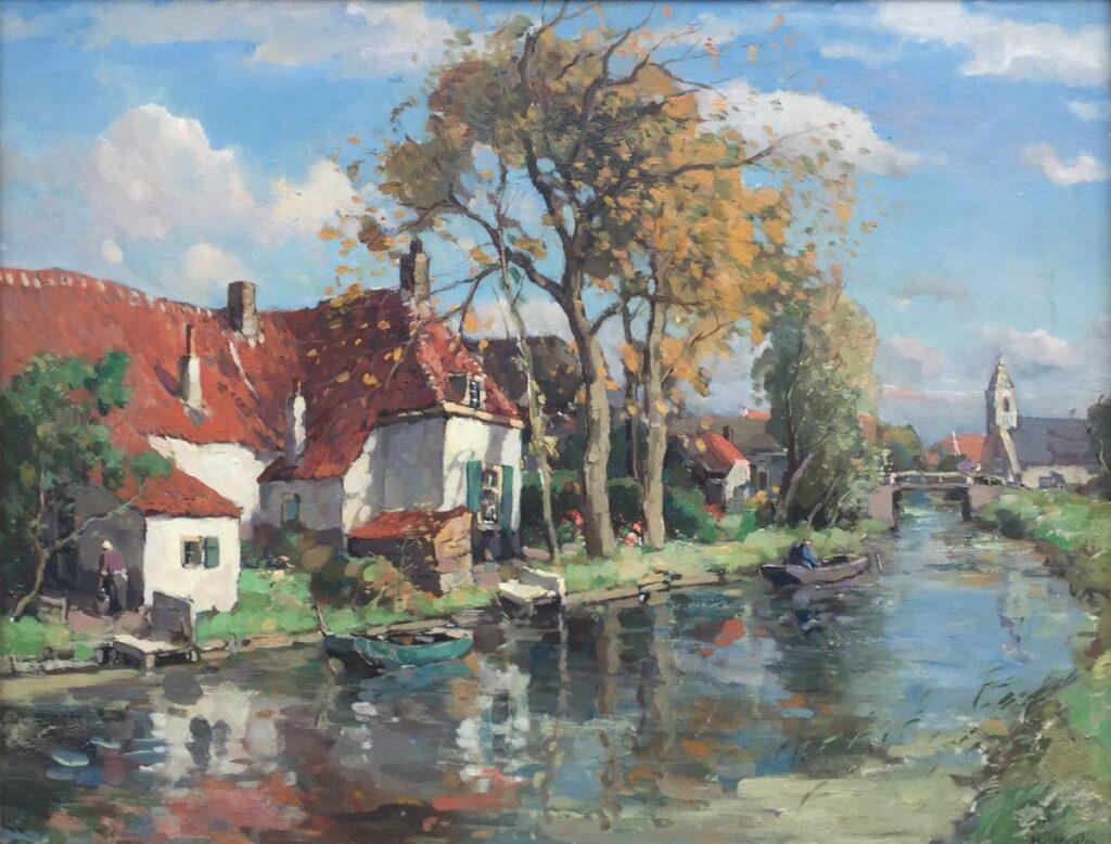 Schilderijen te koop van kunstschilder Henk van Leeuwen Boerderij aan het water olieverf op doek, doekmaat 60.5 x 80.5 cm rechtsonder gesigneerd, Expositie Galerie Wijdemeren Breukeleveen