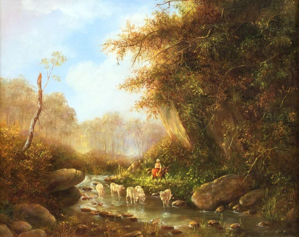 Kunstenaar Cor Klijn C4058-2 Cor Klijn Landschap met boerin en vee Olie op paneel 24 x 30 cm l.o. gesigneerd