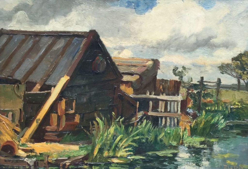Kunst te koop bij Galerie Wijdemeren van kunstschilder Pletser Boerderij aan het water olie op doek, 35 x 50 cm rechtsonder gesigneerd