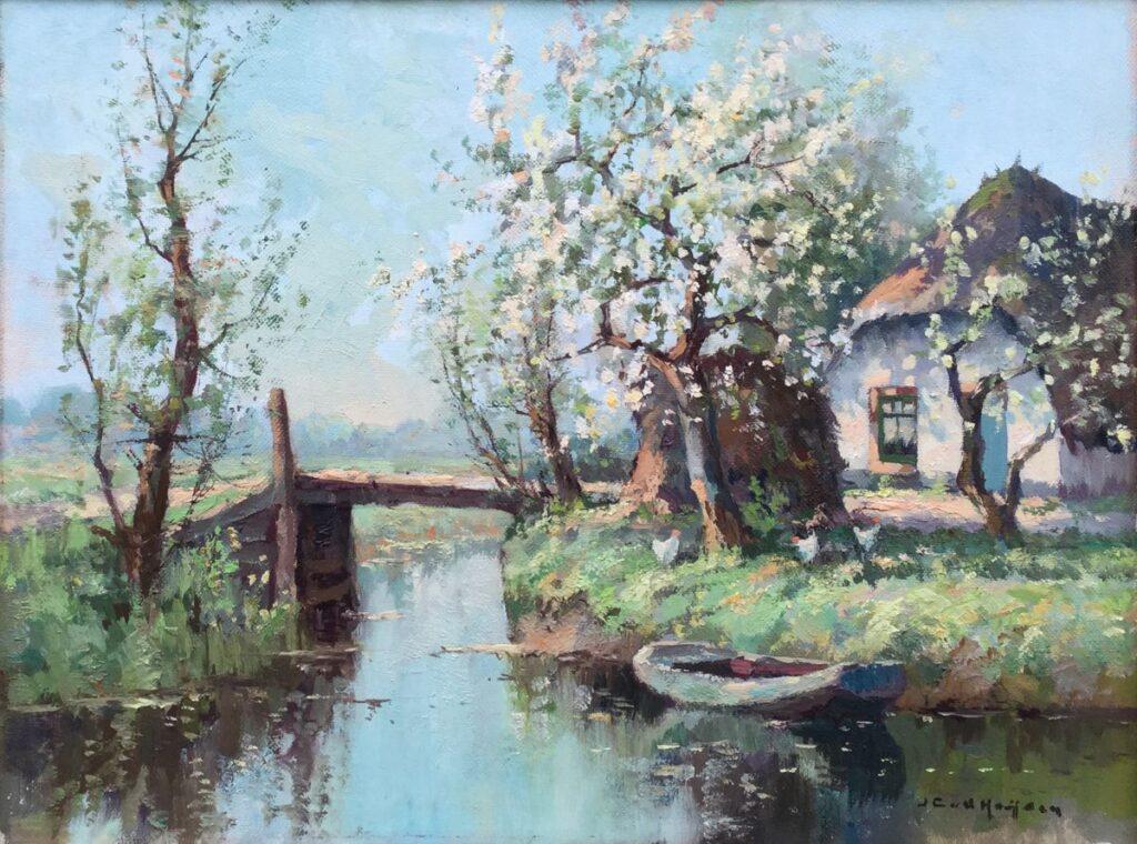 Kunstenaar Johannes Cornelis (Jan) van der Heijden C4080 JC vd Heijden Boerderij aan vaart met bruggetje olie op doek, 30.5 x 40 cm r.o. gesigneerd verkocht
