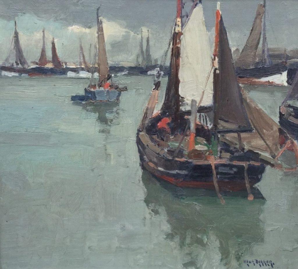 Kunstenaar Henk Dekker C4110A/C4081 Henk Dekker, Haven van Oostende marouflé, olie op doek op board, 23 x 25,5 cm r.o. gesigneerd