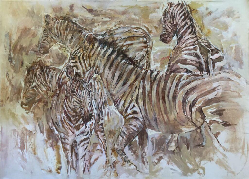 C4082 Twan van den Vorstenbosch Zebra's olie op doek, 101 x 133 midden onder gesigneerd particuliere collectie