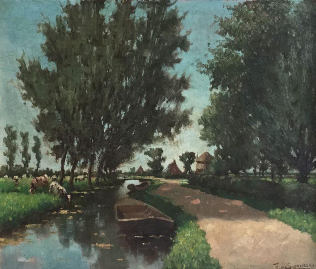 Schilderijen te koop van kunstschilder WJ van Smorenburg Drinkende koeien aan de vaart olie op board, 39.5 x 50 cm r.o. gesigneerd, Expositie Galerie Wijdemeren Breukeleveen