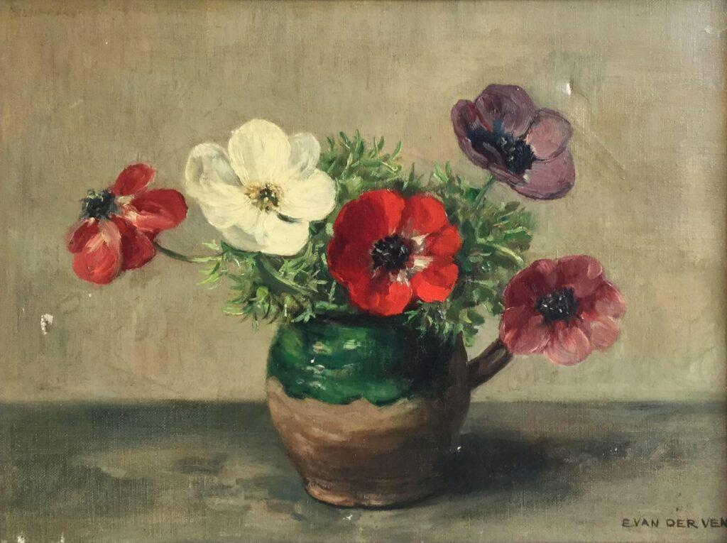 Kunstenaar Emanuel van der Ven C4106 Emanuel van der Ven bloemstilleven olie op doek, 30,5 x 40,5 cm r.o. gesigneerd
