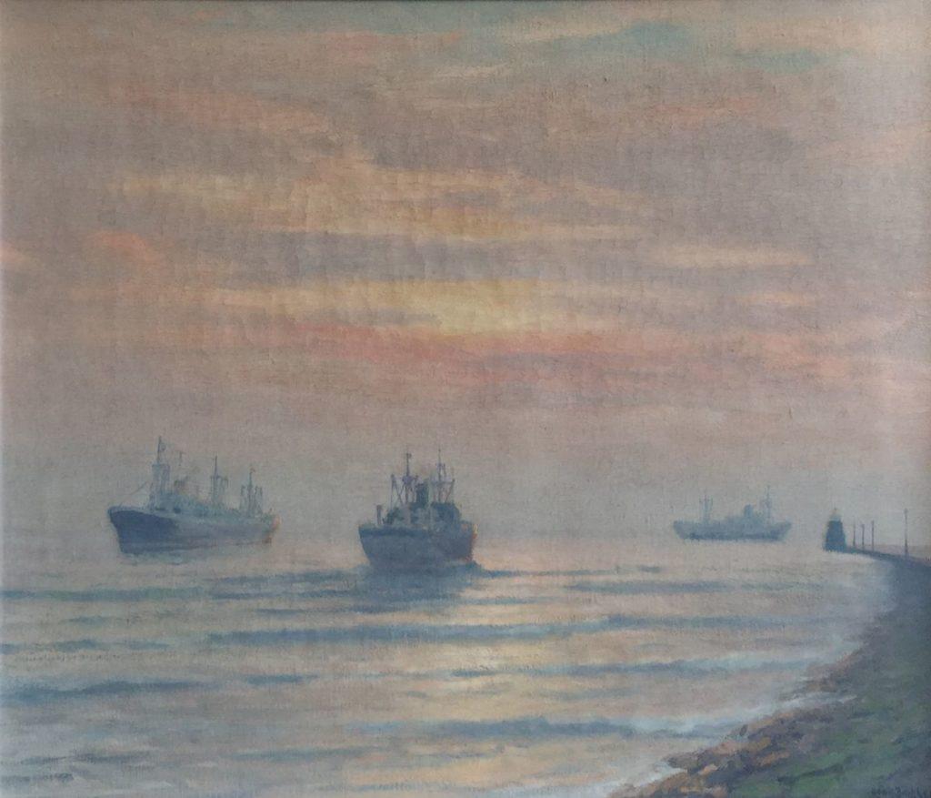 Schilderijen te koop van kunstschilder Henk Dekker Monding Nieuwe Waterweg, Hoek van Holland olie op doek, doekmaat 50 x 60 cm rechtsonder gesigneerd, Expositie Galerie Wijdemeren Breukeleveen
