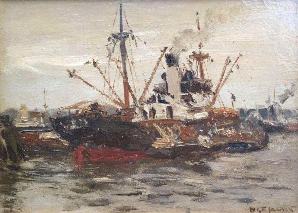 C4109 W.G.F. Jansen Schip in de haven van Rotterdam olie op paneel, 14.5 x 20.5 cm rechtsonder gesigneerd, galerie wijdemeren breukeleveen