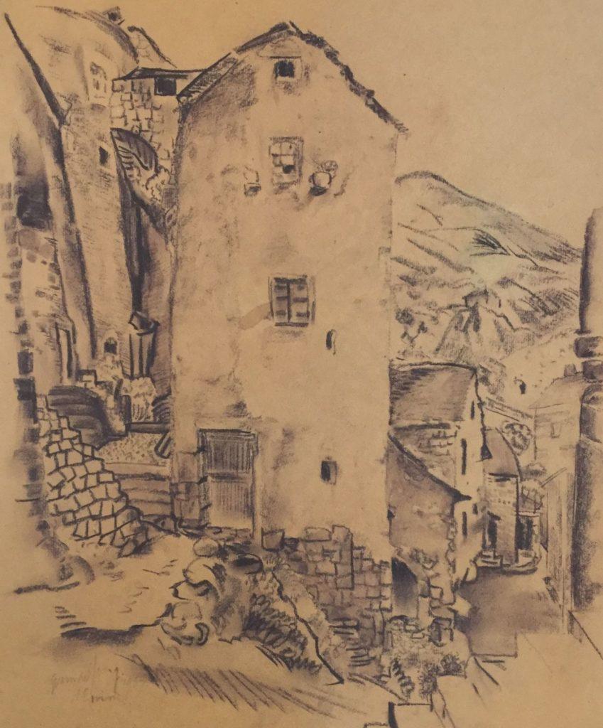 Schilderijen te koop van kunstschilder Germ de Jong Frans straatje houtskooltekening , beeldmaat 41 x 35 cm linksonder gesigneerd., Expositie Galerie Wijdemeren Breukeleveen