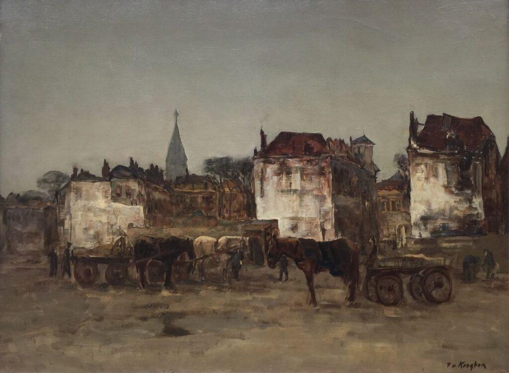 Schilderijen te koop van kunstschilder Fedor van Kregten Stadsgezicht met paarden en wagens Olie op doek, 60.5 x 80.5 cm Rechtsonder gesigneerd, Expositie Galerie Wijdemeren Breukeleveen