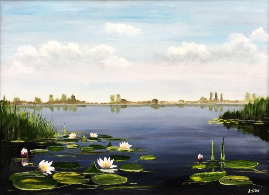 C4124A André Tellier Plasgezicht met waterlelies olie op board, 55 x 72.5 cm rechtsonder gesigneerd, schilderijen te koop bij galerie wijdemeren breukeleveen