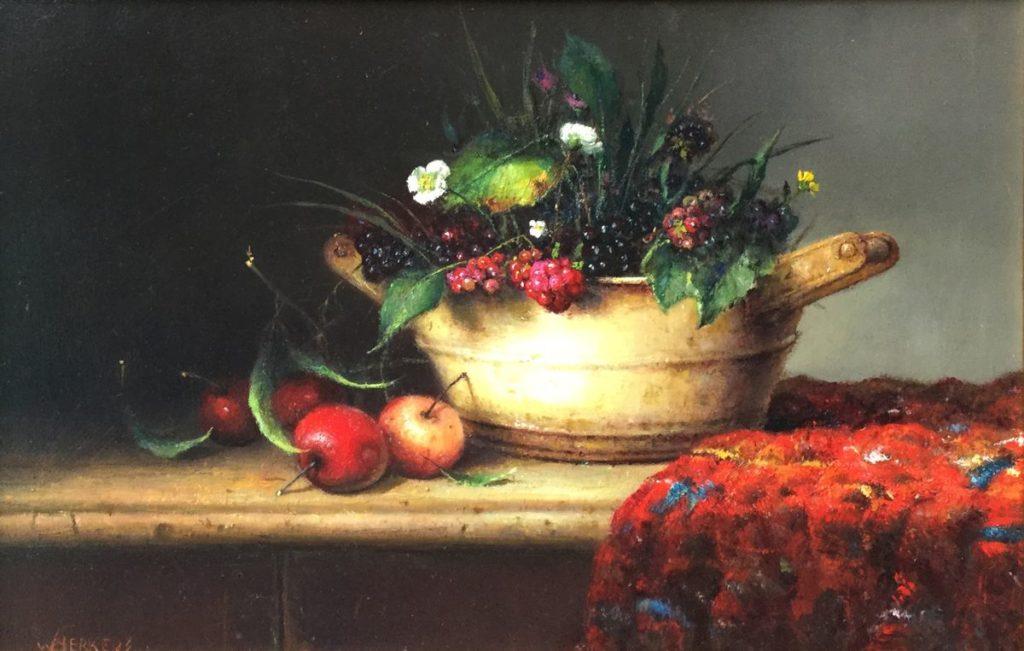 Kunstenaar Willie Berkers C4125-15 Willie Berkers stilleven met bramen en appels olie op paneel linksonder gesigneerd verkocht