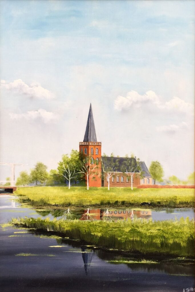 Kunstenaar Andre Tellier C4125A André Tellier Kortenhoef olie op board, 60.5 cm x 41 cm rechtsonder gesigneerd