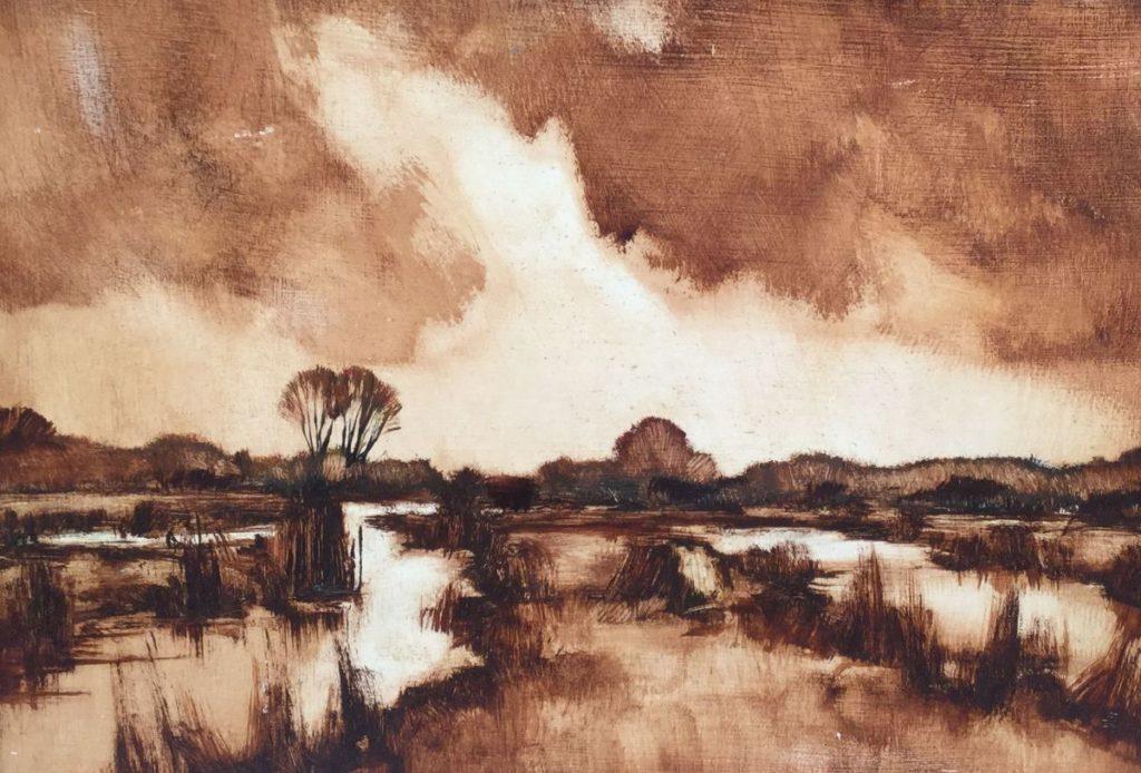Kunst te koop bij Galerie Wijdemeren van kunstschilder Toon Koster Landschap in sepia olieverf op paneel, 31.5 x 45 cm rechtsonder gesigneerd