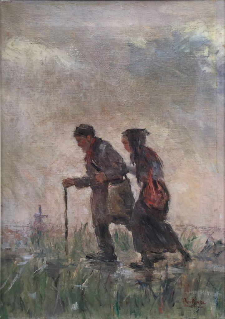 Schilderijen te koop, kunstschilder C4131, Jan Rinke de wandeling olie op doek, 47 x 35.5 cm r.o.gesigneerd, Expositie Galerie Wijdemeren Breukeleveen