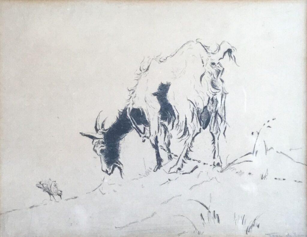 Kunstenaar Toon de Jong C4132, Toon de Jong Bokje met vogeltje ets, beeldmaat 4,5 x 18,5 cm r.o. gesigneerd verkocht