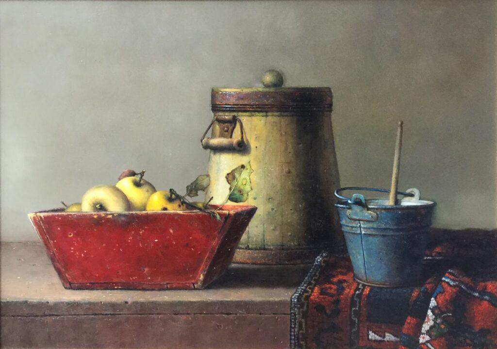 Kunstenaar Willie Berkers C4134 Willie Berkers, Stilleven met peren in rode bak olie op paneel, ,50 x 70 cm rechtsonder gesigneerd verkocht