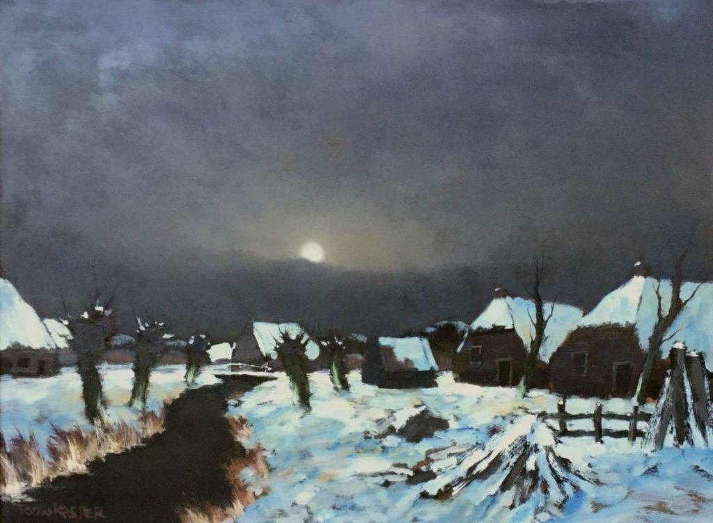 Kunstenaar Antonius Hendrikus Koster C4142-1 Toon Koster Winterlandschap bij volle maan verkocht