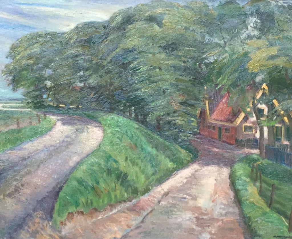 Kunstenaar Harmen Meurs C4142-3, Harmen Meurs Huisje aan de bosrand olie opdoek, doekmaat 60.5 x 73.5 cm rechtsonder gesigneerd, gedateerd 37