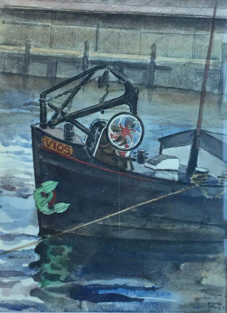 Schilderijen te koop van kunstschilderHarmen Meurs Boot genaamd VIOS rechtsonder gesigneerd verkocht, Expositie Galerie Wijdemeren Breukeleveen