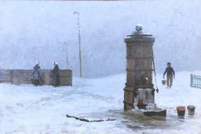Kunstenaar  C4145 L. Berkemeier Waterpomp in de winter aan de haven Olieverf op paneel linksonder gesigneerd