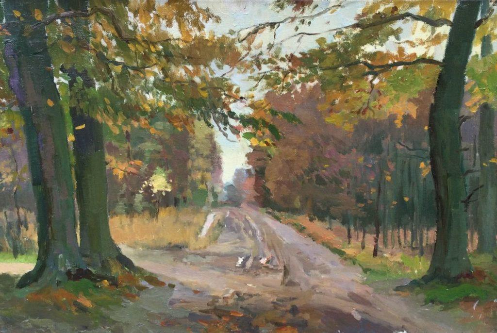 Kunst te koop bij Galerie Wijdemeren van Jacob de Heer Kloots Zandpad door het bos olie op doek, 32.5 x 48.5 cm