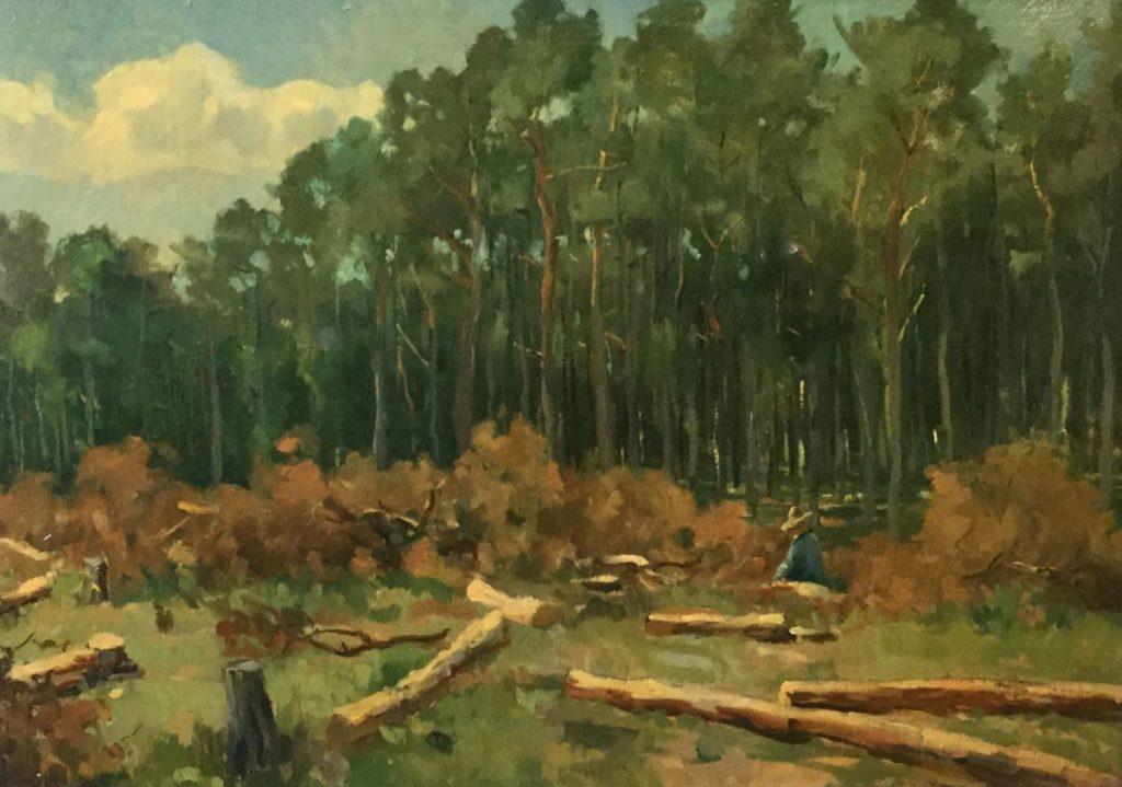 Kunst te koop bij Galerie Wijdemeren van kunstschilder Jacob de Heer Kloots Bosgezicht olie op doek, 50 x 70 cm gesigneerd linksonder