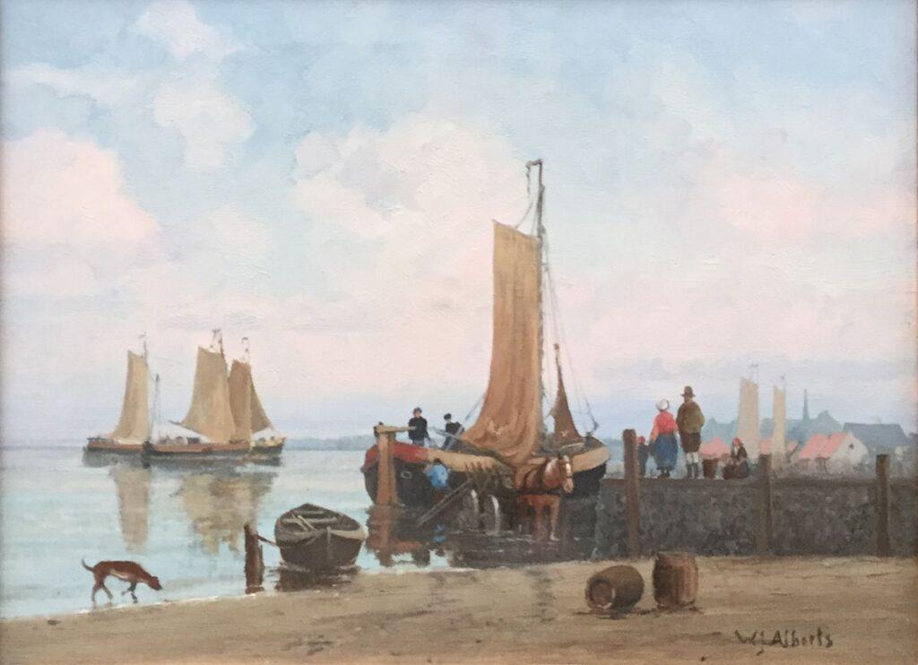 Schilderijen te koop van kunstschilder W.J. Alberts Visvangst van de dag Olieverf op doek, 30.5 x 40.5 cm Rechtsonder gesigneerd, Expositie Galerie Wijdemeren Breukeleveen