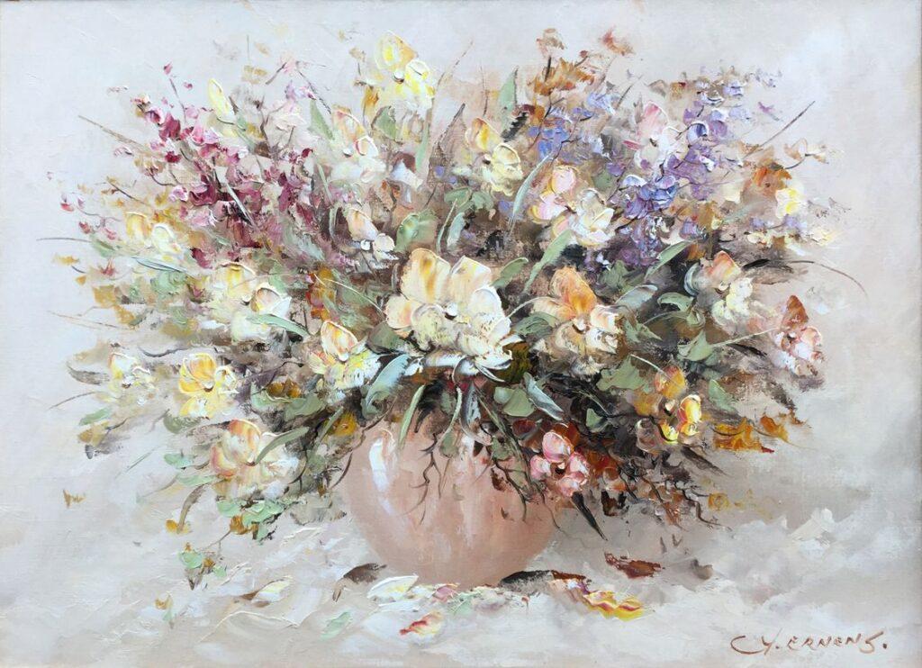 Schilderijen te koop van kunstschilder G.J. Ernens bloemstilleven Olie op doek, doekmaat 50.5 x 70.5 cm rechtsonder gesigneerd, Expositie Galerie Wijdemeren Breukeleveen