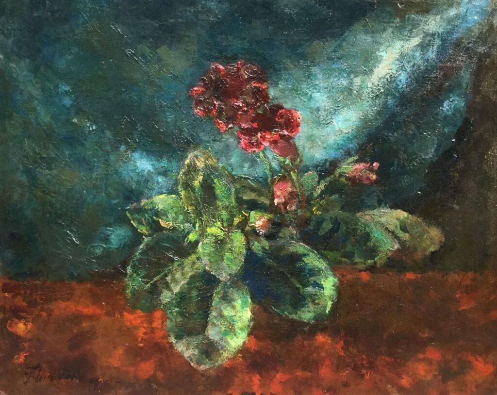Schilderijen te koop van kunstschilder Floris Verster Stilleven met plant Olie op doek, 50 x 63 cm l.o. gesigneerd, Expositie Galerie Wijdemeren Breukeleveen