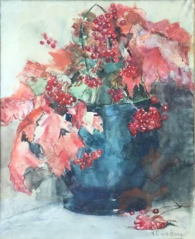Schilderijen te koop van kunstschilder Ans van den Berg Stilleven met bessen in vaas Aquarel op papier, 40 x 33 cm r.o.gesigneerd, Expositie Galerie Wijdemeren Breukeleveen