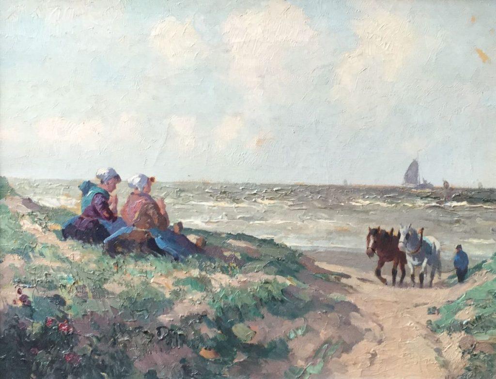 Kunstenaar G. J. Delfgaauw C4169 G.J. Delfgaauw onder pseudoniem H. van Gessel meisjes in de duinen olie op doek, 35,5 x 45 cm rechtsonder H. v. Gessel gesigneerd