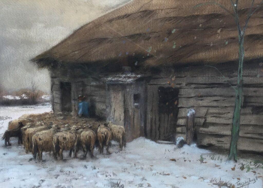 Schilderijen te koop van kunstschilder Tinus de Jongh Schaapskooi gemengde technieken op papier, 36 x 49 cm r.o. gesigneerd gereserveerd, Expositie Galerie Wijdemeren Breukeleveen