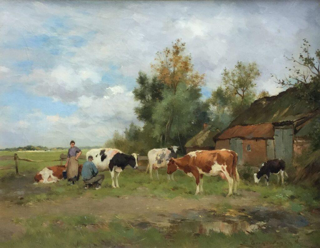 Kunstenaar Adrianus Johannes Groenewegen C4175 AJ Groenewegen Het melken van de koeien olieverf op doek, 40.5x50.5 cm r.o. gesigneerd verkocht