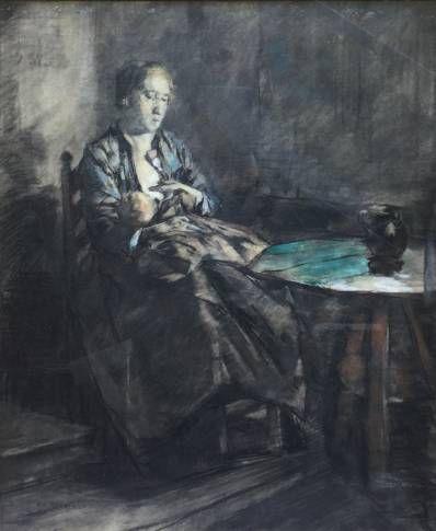 Kunstenaar Emanuël Samson van Beever C4177 Emanuël Samson van Beever Dame in interieur Krijttekening, beeldmaat 47 x 57 cm l.o. gesigneerd verkocht