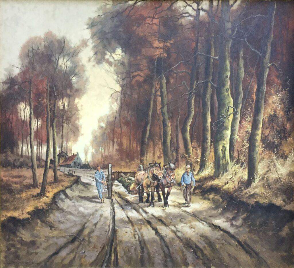 Jos van Dijk Door het bos olieverf op doek, 80 x 100 cm linksonder gesigneerd