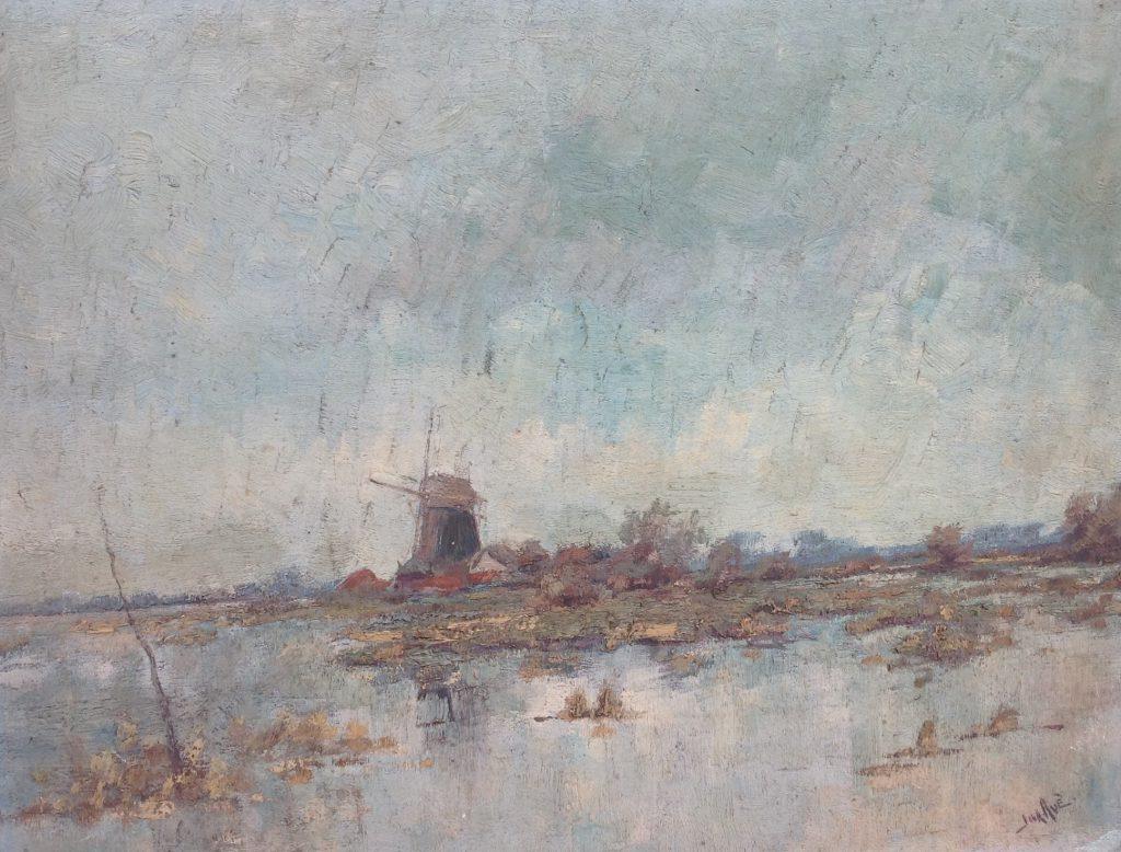 Schilderijen te koop van kunstschilder Jack Aue plasgezicht met molen olie op paneel, 36 x 46 cm rechtsonder gesigneerd, Expositie Galerie Wijdemeren Breukeleveen