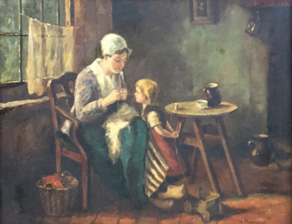 Schilderijen te koop van kunstschilder JH Kaemmerer Larens interieur olieverf op doek, , 51.5 x 61 cm rechtsonder gesigneerd, Expositie Galerie Wijdemeren Breukeleveen