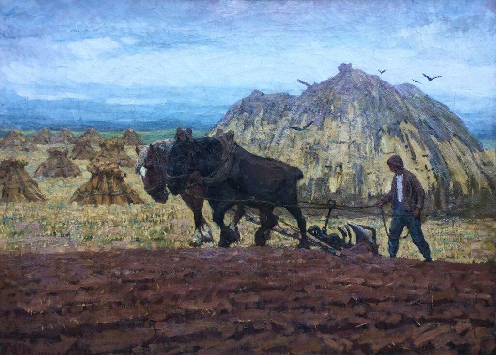 Schilderijen te koop van kunstschilder A.H. Gouwe Paarden en boer op het land olieverf op doek , 72 x 100.5 cm l.o. gesigneerd, Expositie Galerie Wijdemeren Breukeleveen