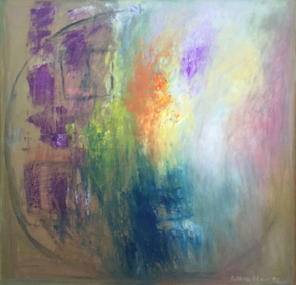 Kunstenaar Krikor Momdjian C4186, Krikor Momdjian Abstracte voorstelling olieverf op doek, 130 x 130 cm r.o. gesigneerd