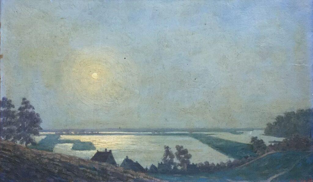 Schilderijen te koop van kunstschilder L.A. Schilt Vergezicht over landschap, Expositie Galerie Wijdemeren Breukeleveen
