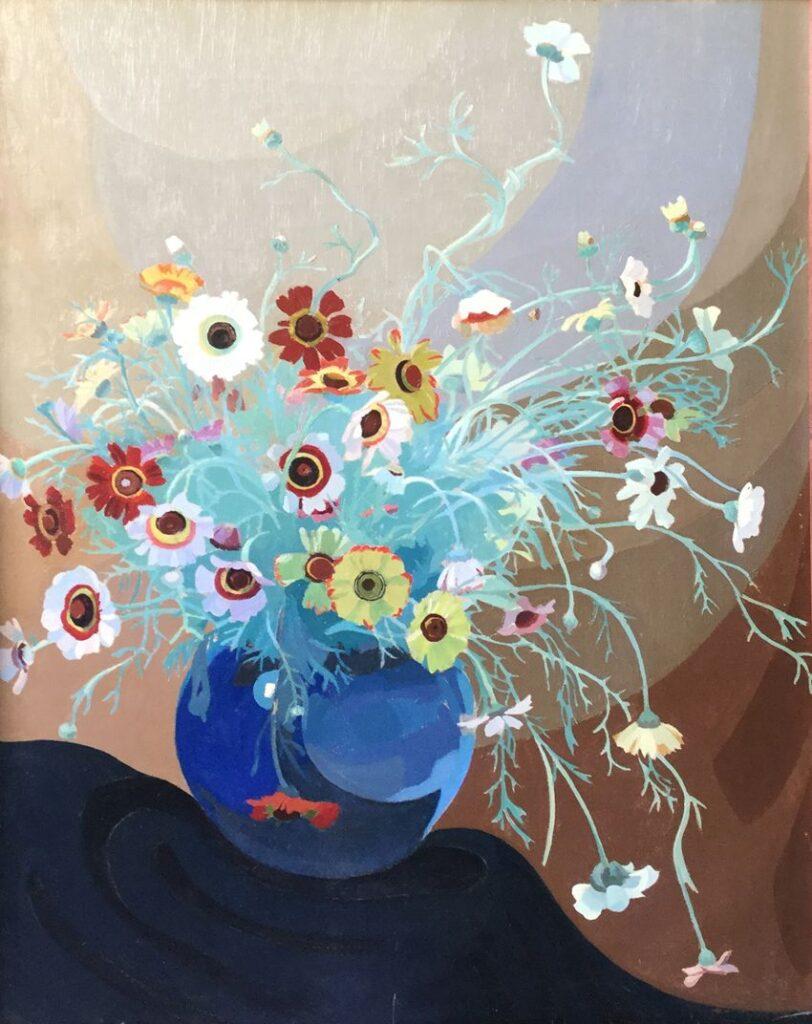 Schilderijen te koop van kunstschilder Dirk Smorenberg Bloemstilleven olieverf op doek, 84 x 68 cm rechtsonder gesigneerd en gedateerd 1920 in originele handgestoken lijst, Expositie Galerie Wijdemeren Breukeleveen