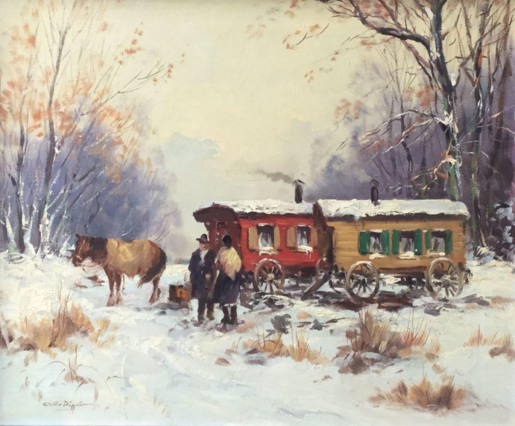 Schilderijen te koop van kunstschilder C.A.V. van Diggelen winters landschap met woonwagens olie op doek, doekmaat 50 x 60 cm linksonder gesigneerd, Expositie Galerie Wijdemeren Breukeleveen