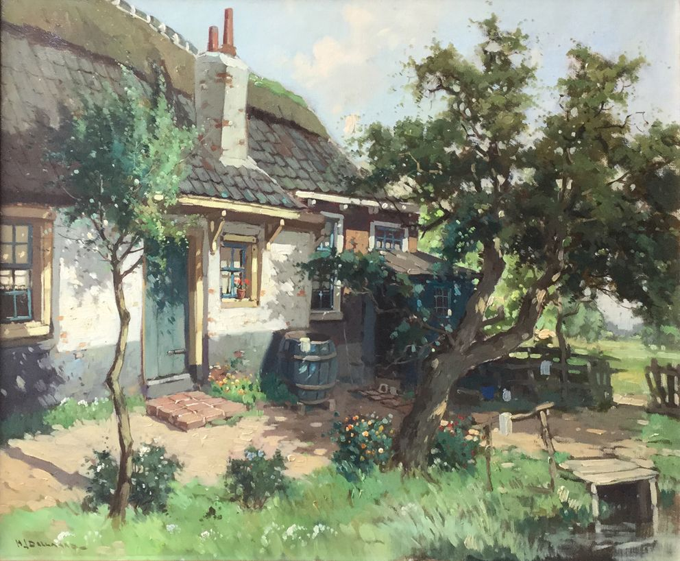 Schilderijen te koop van kunstschilder Hendrik Bellaard Zicht op boerderijtje olie op doek, 51 x 60,5 cm linksonder gesigneerd, Expositie Galerie Wijdemeren Breukeleveen