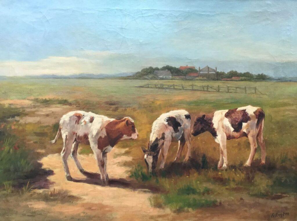 Kunst te koop bij Galerie Wijdemeren van kunstschilder Fedor van Kregten Kalveren in de wei olie op doek, 60 x 79.5 cm ro gesigneerd