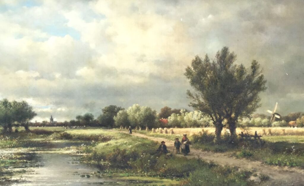 Schilderijen te koop van kunstschilder L.J. Kleijn Romantisch landschap, Voorjaar olieverf op doek, doekmaat 50 x 100 cm rechtsonder gesigneerd, Expositie Galerie Wijdemeren Breukeleveen