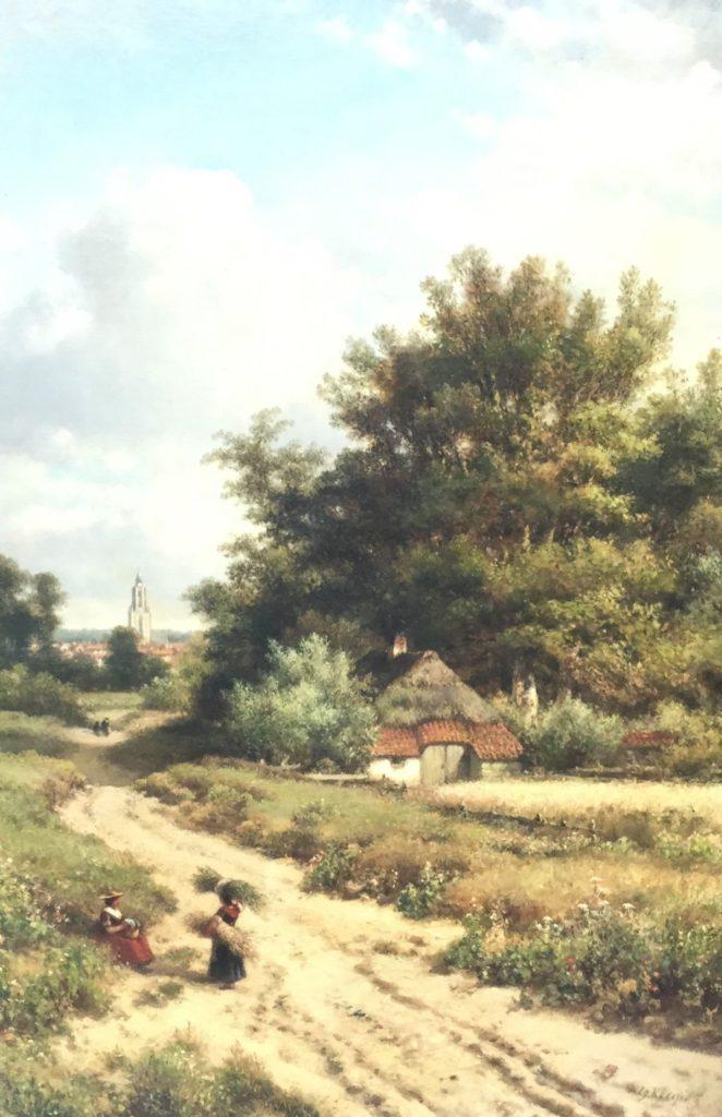 Schilderijen te koop van kunstschilder L.J.Kleijn Landweg met figuren en Cunera toren Rhenen olie op doek, doekmaat 100 x 50 cm gesigneerd rechtsonder, Expositie Galerie Wijdemeren Breukeleveen