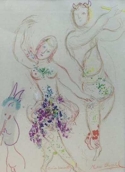 Kunstenaar Marc Chagall C4218, Marc Chagall, Le ballet, met signatuur/opdracht, Beeldmaat: 34.5 cm x 24.5 cm Verkocht