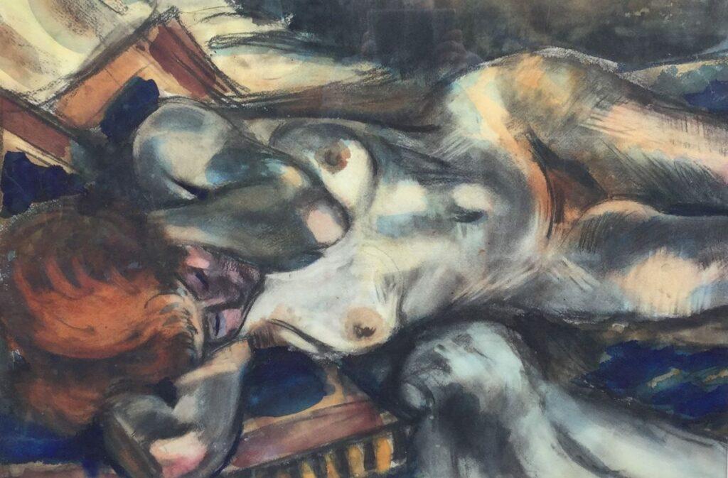 Schilderijen te koop, Kunstschilder Henri LeFauconnier, C4221 Liggend naakt aquarel, 62.5 cm x 90.5 cm, Expositie Galerie Wijdemeren Breukeleveen