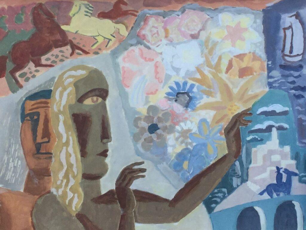 Schilderijen te koop, kunstschilder Leo Gestel, C4222 Fantasia gemengde technieken op papier 25.5 x 32.5 cm, expositie Galerie Wijdemeren Breukeleveen